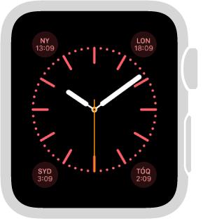 O estilo do relógio Cor, onde é possível ajustar a cor do relógio e adicionar os seguintes recursos: calendário/data, fase da lua, nascer do sol/pôr do sol, tempo, atividade, alarme, timer, cronômetro, porcentagem da bateria, relógio internacional e o seu monograma.