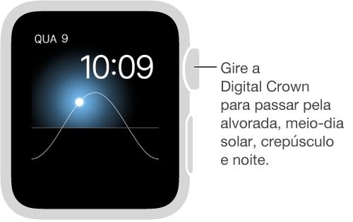 O estilo do relógio Solar exibe o dia, a data e a hora atuais, os quais não podem ser modificados. Gire a DigitalCrown para mover o sol no céu para anoitecer, amanhecer, zênite, pôr do sol e escuridão.