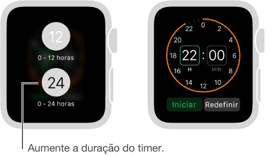 Nos ajustes do Timer, é possível escolher entre os modos de 12 e 24 horas e definir um timer para um período mais longo.