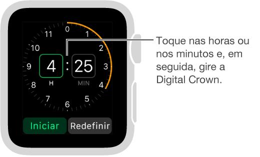 Toque nas horas ou nos minutos e gire a DigitalCrown para definir um timer.