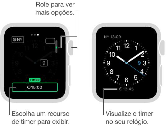Duas telas: uma mostrando como modificar um estilo do relógio a fim de incluir o timer e outra mostrando o a aparência do estilo do relógio com o timer.