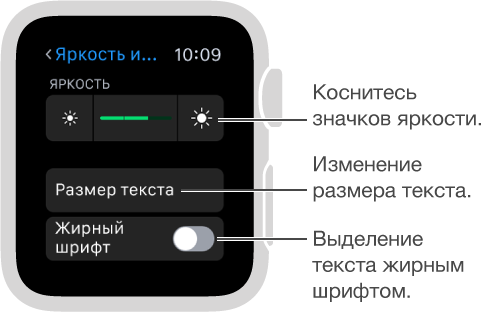 Экран настройки яркости на AppleWatch со сноской, указывающей на значки яркости с каждого края бегунка (комментарий: «Коснитесь значков яркости»); сноска, указывающая на параметр «Размер текста»: (комментарий: «Изменение размера текста»); сноска, указывающая на параметр «Жирный шрифт» (комментарий: «Выделение текста жирным шрифтом»).