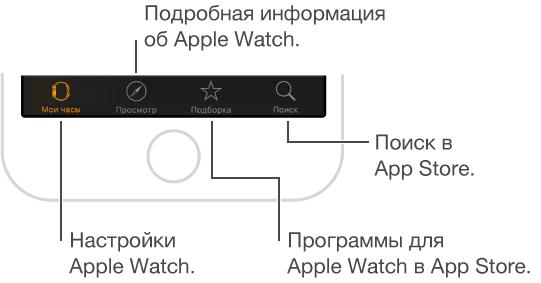 Нижняя часть экрана программы AppleWatch на iPhone с тремя вкладками. Слева находится вкладка «Мои часы»; выберите ее, чтобы перейти к настройкам AppleWatch. Посредине— вкладка с видео об Apple Watch. Справа— вкладка AppStore; выберите ее, чтобы загрузить программы для AppleWatch.