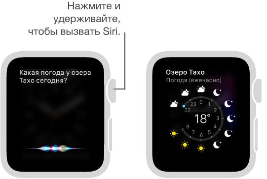Нажмите и удерживайте колесико DigitalCrown, чтобы задать Siri вопрос. Экраны, на одном из которых показан вопрос для Siri о погоде у озера Тахо, а на втором— прогноз погоды у озера Тахо на сегодня.