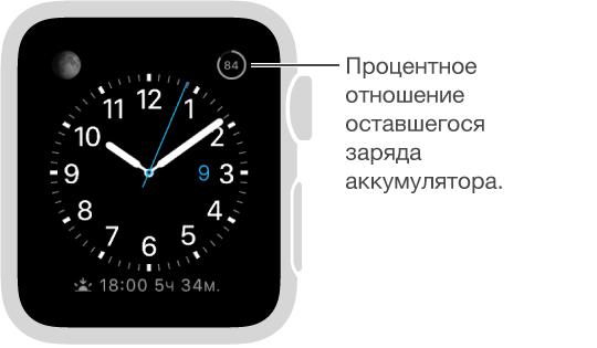Циферблат, на котором показан добавленный индикатор заряда аккумулятора в процентах.