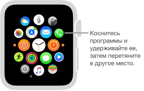 Экран «Домой» на AppleWatch, где отображаются значки программ, которые покачиваются и увеличены до одного размера. Вы можете перетягивать значки программ в другое место.
