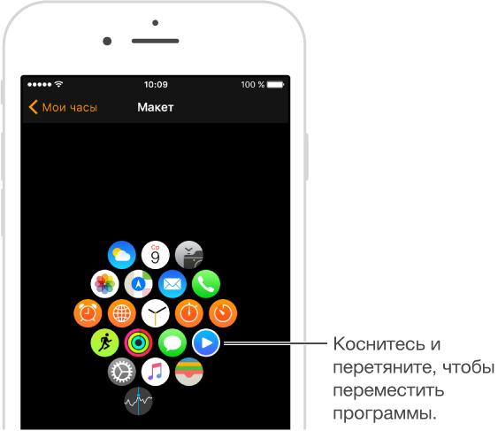 Экран «Макет» в программе AppleWatch на iPhone, на котором отображается порядок расположения программ. Коснитесь значка программы и перетяните его, чтобы изменить порядок расположения.