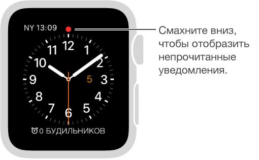 Если у Вас есть уведомление, на которое стоит обратить внимание, на циферблате над делением часов, указывающем на 12 часов, отображается красный кружок. Смахните вниз, чтобы его посмотреть.