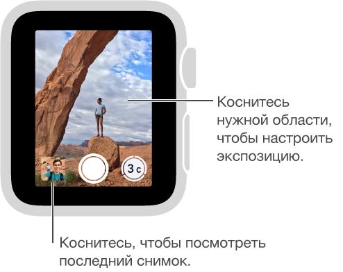 Экран видоискателя в режиме ПультаДУ «Камеры» на AppleWatch. Кнопка «Сделать снимок» находится внизу по центру, а кнопка «Сделать снимок после задержки»— справа. Если Вы сделали снимок, кнопка фотопросмотра отобразится в левом нижнем углу.
