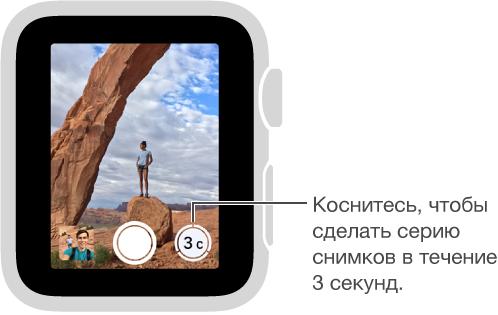 Видоискатель ПультаДУ «Камеры» на AppleWatch с кнопкой таймера в правом нижнем углу.