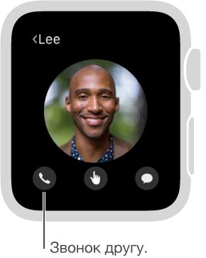 Экран, на котором показано фото выбранного контакта. Под фото находятся кнопки телефона, DigitalTouch и Сообщений. Коснитесь кнопки телефона, чтобы позвонить выбранному контакту.