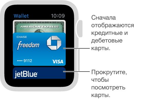 Экран Passbook на AppleWatch, где сверху показаны платежные карты, а остальные карты снизу.