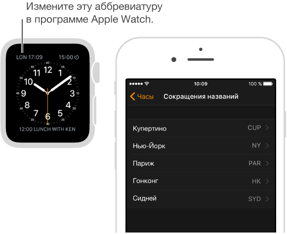 Циферблат с указателем на время в Лондоне, для которого используется сокращенное название «LON». Следующий экран AppleWatch на iPhone, на котором можно менять сокращенные названия городов.
