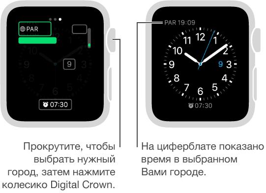 Два экрана часов: на одном показано, как добавить время в другом городе на циферблат, на другом— время, которое отображается на циферблате.