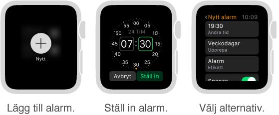 Fem urtavlor som visar processen att lägga till ett alarm: Lägg till ett alarm genom att trycka, ställ in tiden genom att vrida på Digital Crown, ställ in alternativ i inställningar, ange alternativ för upprepning och slå på snooze.