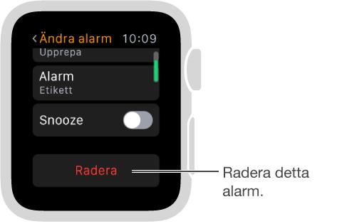 Skärmen där du ändrar alarm och rullar till nederkanten för att radera ett alarm.