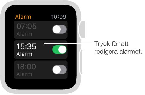 Alarmskärm med tre alarm och reglage som slår på och stänger av dem.