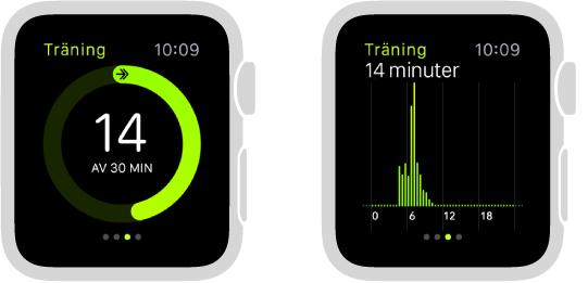 Träningsframstegen visas som en ring eller en graf i överblicken Aktivitet.