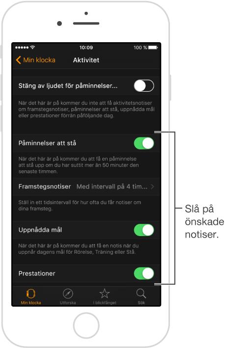 Aktivitetsskärmen i AppleWatch-appen, där du kan anpassa vilka notiser som du ska få och om de ska visas i överblicken Aktivitet.