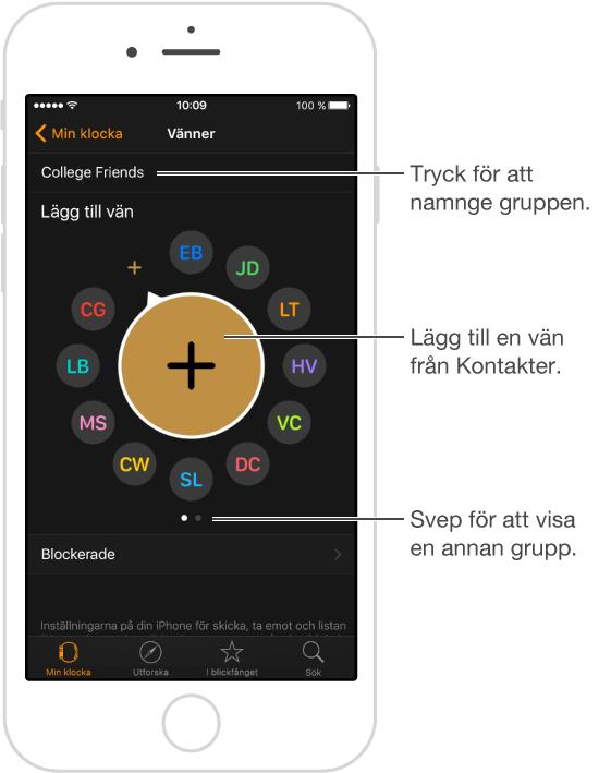 Skärmen Vänner i AppleWatch-appen, där du ser vänner som hämtats från multitaskingskärmen, och där du kan lägga till nya vänner genom att trycka på Lägg till vän.