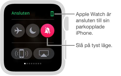 Överblicken Inställningar där du kan se anslutningsstatus hos klockan och iPhone, samt aktivera flygplansläget, stör ej och ljud av. Du kan även pinga din iPhone. Ljud av är valt.