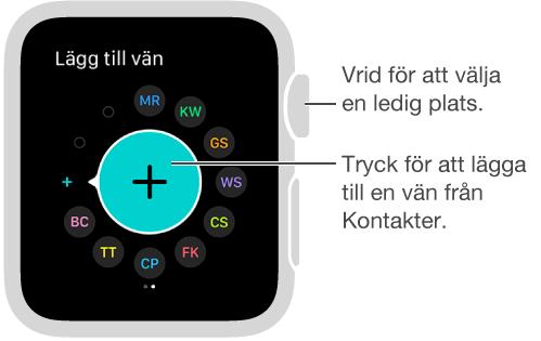 Tryck på Vänner-skärmen på AppleWatch. Kontakta en vän genom att trycka på vännens initialer eller bild.