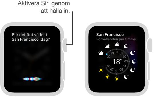 Ställ en fråga till Siri genom att hålla in Digital Crown. Skärmarna visar en fråga till Siri om vädret i San Francisco och hur Siri visar dagens väder i San Francisco.