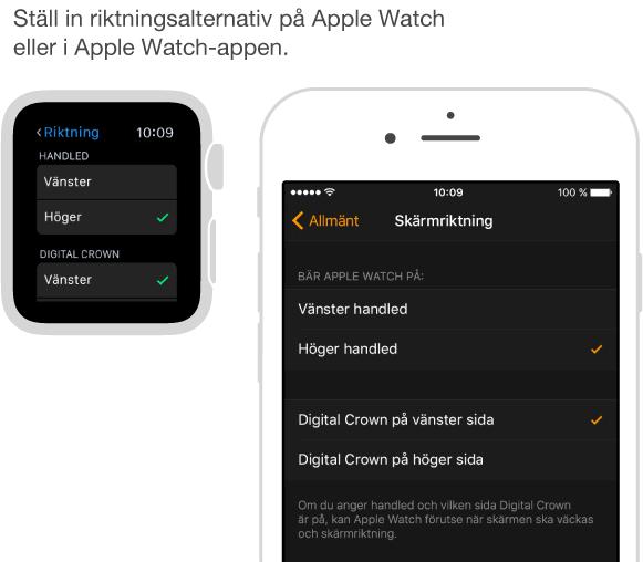 Skärmar bredvid varandra som visar riktningsinställningarna på AppleWatch och samma inställningar i AppleWatch-appen på iPhone. Du kan göra inställningar för handleden och Digital Crown.