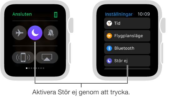Två AppleWatch-skärmar som visar två sätt att ställa in Stör ej: i överblicken Inställningar och i appen Inställningar.