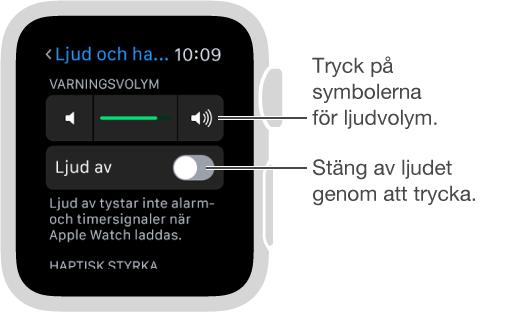 Inställningsskärmen Ljud och haptik på AppleWatch. Öka och minska volymen hos ring- och notisljuden genom att vrida på Digital Crown eller trycka på symbolerna för ljudvolym. Gör AppleWatch tyst genom att trycka på Ljud av.