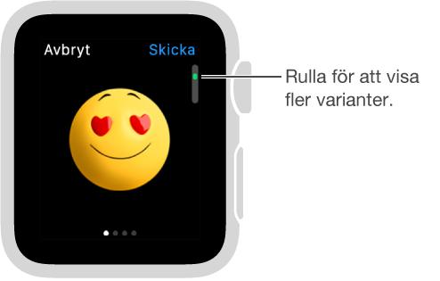 Skärmen Meddelanden med emoji i mitten. Du kan rulla för att ändra uttrycket och visa fler variationer på temat.