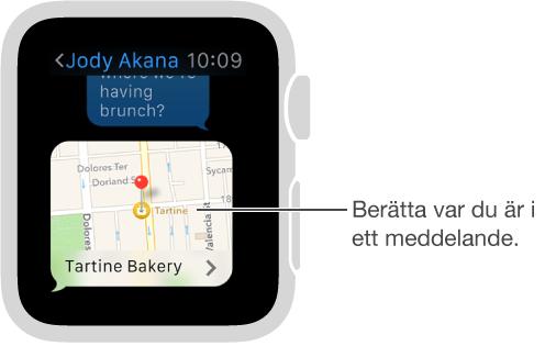 Skärm i Meddelanden som visar en karta med avsändarens position. Tryck hårt på skärmen i en konversation för att skicka din plats.