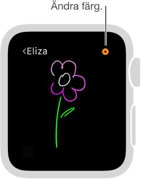 Ändra färg på teckningen genom att trycka på färgknappen i det övre högra hörnet.