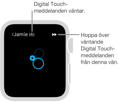 Skicka ett tryck till en vän genom att trycka på skärmen med fingret.
