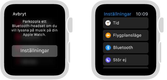 Om du byter musikkälla till AppleWatch innan du har parkopplat Bluetooth-högtalare eller -hörlurar visas knappen Inställningar mitt på skärmen. Den tar dig till Bluetooth-inställningarna på AppleWatch, där du kan lägga till en uppspelningsenhet.