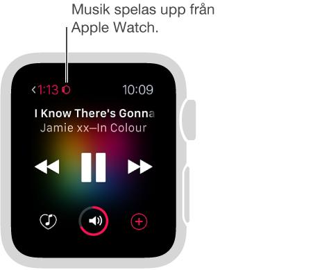 När du spelar upp musik som har sparats på Apple Watch visas en liten klocksymbol längst upp till vänster, bredvid förfluten uppspelningstid.