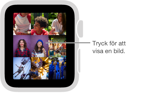 Visa en bild i samlingen genom att trycka på bilden i appen Bilder. Zooma ut från en viss bild till samlingen genom att vrida på Digital Crown.