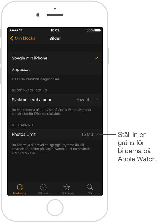 Skärmen Bilder i AppleWatch-appen på iPhone, där du kan välja vilket album som ska synkroniseras och begränsa bildlagringen på AppleWatch.