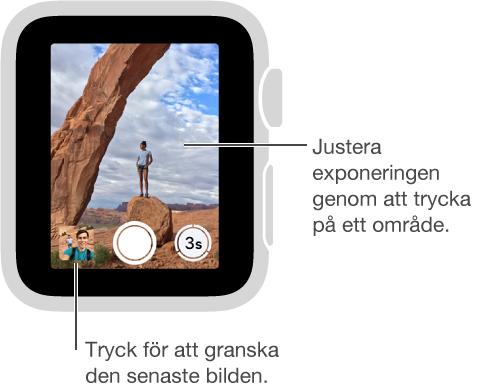 När du tittar på kamerans fjärrsökare i AppleWatch finns knappen Ta bild längst ned i mitten, med knappen Ta bild med fördröjning till höger. Om du har tagit en bild visas knappen Bildvisare i nedre vänstra hörnet.