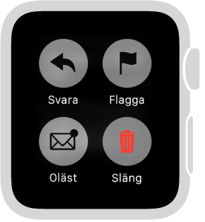 Tryck hårt på skärmen medan du läser brevet på AppleWatch för att märka det som oläst, flagga det eller slänga det i papperskorgen.