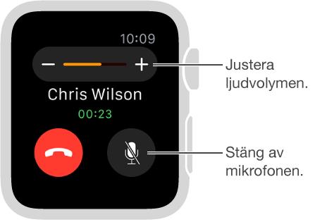 Skärm som visar ett inkommande telefonsamtal där du kan justera ljudvolymen eller slå av ljudet.