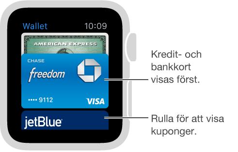 Passbook-skärmen på AppleWatch visar kontokort högst upp, ovanför kupongerna.
