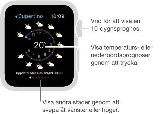 Tryck på den aktuella temperaturen i appen Väder om du vill växla till prognoser för nederbörd eller temperatur per timme. Rulla nedåt för att visa en 10-dygnsprognos. Svep åt vänster eller höger om du vill se väder i andra städer.