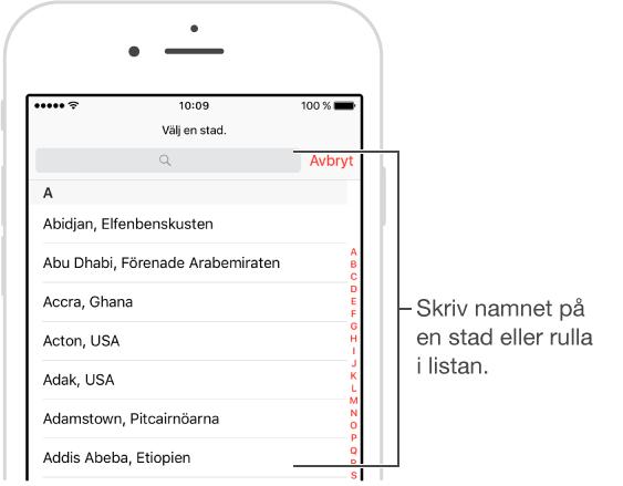 Bild på appen Klocka på iPhone där du kan lägga till städer i appen Världsklocka.