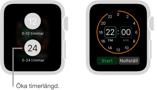 I timerinställningarna kan du välja mellan att visa 12 eller 24 timmar och ställa in en timer för en längre tidsperiod.