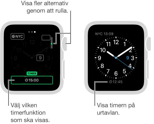 Två skärmar som visar hur en timer läggs till på en urtavla, och en annan skärm som visar det färdiga resultatet med timern på urtavlan.