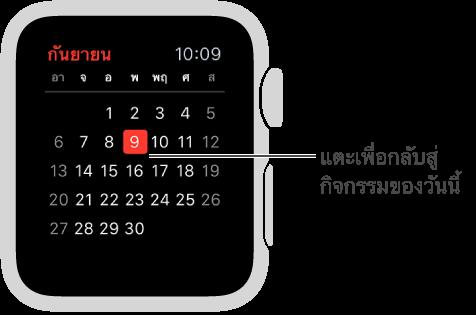 มุมมองรายเดือนที่แสดงปฏิทินแบบเต็มเดือนโดยไฮไลท์วันนี้ด้วยสีแดง แตะที่ใดก็ได้เพื่อกลับสู่รายการกิจกรรมรายวันของคุณ