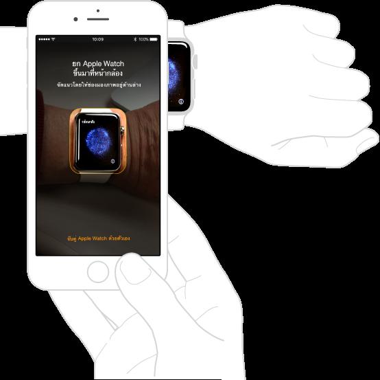 ภาพการจับคู่ที่แสดงแขนข้างซ้ายพร้อม Apple Watch บนข้อมือและมือข้างขวาที่กำลังถือ iPhone ที่ใช้งานร่วมกัน หน้าจอของ iPhone ที่แสดงคำแนะนำในการจับคู่ โดยจะเห็น Apple Watch ในช่องมองภาพ และหน้าจอของ Apple Watch ที่แสดงคำแนะนำในการจับคู่