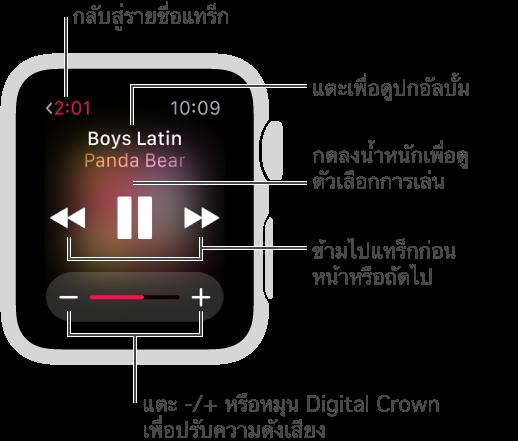 ขณะที่กำลังเล่นเพลง ให้แตะปุ่มย้อนกลับที่ด้านซ้ายบนเพื่อกลับสู่รายชื่อแทร็ก ปุ่มแทร็กก่อนหน้า เล่น/หยุดพัก และแทร็กถัดไป จะอยู่ที่กึ่งกลางหน้าจอ หมุน Digital Crown เพื่อปรับความดังเสียง กดหน้าจอเพื่อเล่นสลับหรือเล่นซ้ำ หรือเพื่อสลับไปเล่นเพลงใน Apple Watch แทนใน iPhone