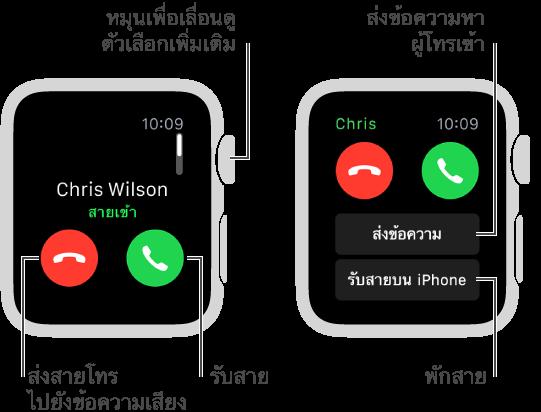เมื่อมีสายเรียกเข้า ให้แตะปุ่มสีเขียวเพื่อรับสายหรือแตะปุ่มสีแดงเพื่อส่งสายนั้นไปที่ข้อความเสียง
